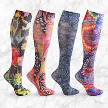 Printed Moderate Compression Knee High Stockings - Women's