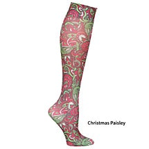 Christmas Paisley Seasonal Printed Knee High Queen Mild Compression 8-15 mmHg