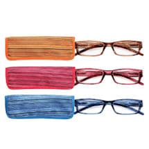 Wood Grain Reading Glasses with Spring Hinges and Chamois Case