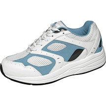 Drew® Flare Women's Walking Shoes - White/Blue Leather/Mesh