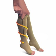 Firm Support Zippered Open Toe Knee High Socks