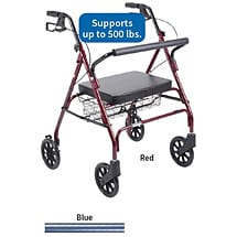 Bariatric Oversized Rollator with Basket & Brakes - 500lbs Weight Capacity