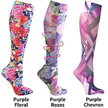 Mild Compression Wide Calf Printed Knee High Stockings - Love Purple Set of 3 Asst