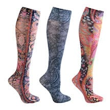 Celeste Stein® Women's Printed Closed Toe Mild Compression Knee High Stockings - Paisley & Lace - 3 Pack