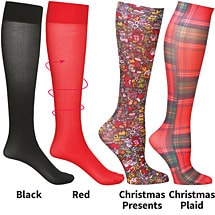 Mild Compression Wide Calf Printed Knee High Stockings - Christmas Treasures Set of 4 Asst