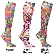 Mild Compression Wide Calf Printed Knee High Stockings -Fun With Shapes and Angles Set of 3 Asst