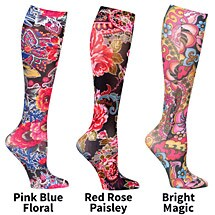 Mild Compression Printed Knee High Stockings - Floral Wow Set of 3 Asst