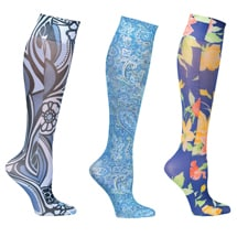 Mild Compression Wide Calf Printed Knee High Stockings - Shades of Blue Set of 3 Asst