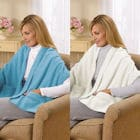 Fleece Shawl Kit Lagoon Blue And Ivory