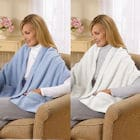 Fleece Shawl Kit Light Blue And Ivory