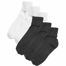 Buster Brown® 100% Cotton Fold Over Socks - Women's (3 White 3 Black XL)