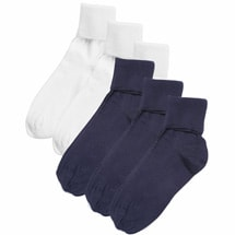Buster Brown® 100% Cotton Fold Over Socks - Women's (3 White 3 Navy Large)