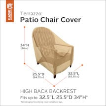 Set of 2 High Back Patio Chair Covers- Terrazo