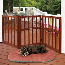 Wood Pet Gate with Paw Print Accent