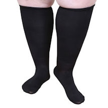 Opaque Closed Toe Petite Height Extra Wide Calf Moderate Compression Knee High Socks