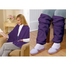 Fleece Pocket Shawl and Leg Warmers Purple