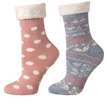 Cabin and Lounge Socks, Set of 2 - Pink