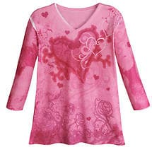 Sweetheart Top Pink Roses Shirt