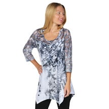 Lace Sleeve Exotic Print Abstract Blue Tunic Top