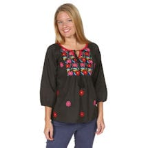 Tie Neck Cotton Embroidered Floral Blossom Tunic