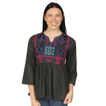Notch Neck Empire Waist Embroidered Cotton Tunic Top