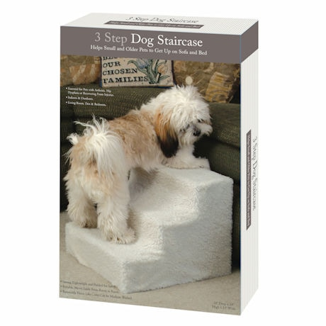 3-Step Dog Indoor Staircase with Removable Fleece Cover