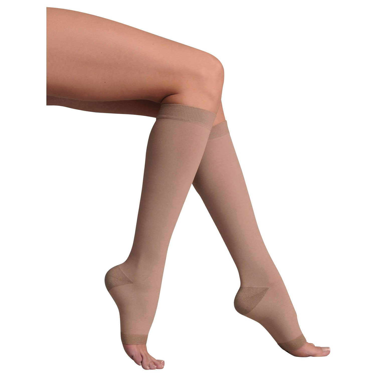 0366cfe00 Support Plus Women s Firm Compression Hose - Opaque Knee High Open Toe Wide  Calf