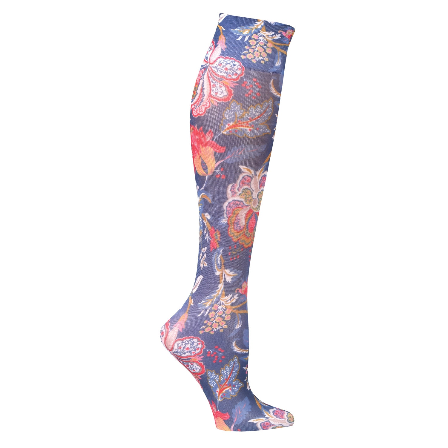 72ac80c2a5c Celeste Stein Moderate Compression Knee High Stockings Wide Calf-Navy  Tapestry