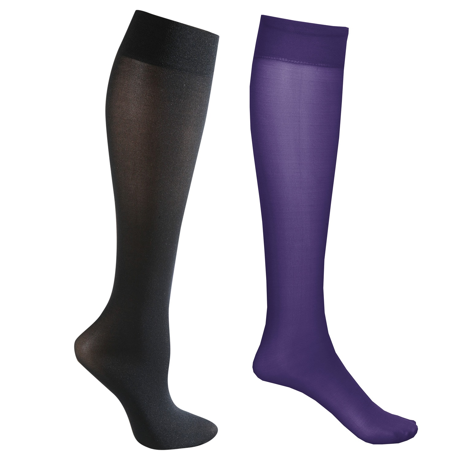 03a5e7d3b 2 Pair Mild Compression Knee High Stockings - Wide Calf Cmpsq PurBlk ...