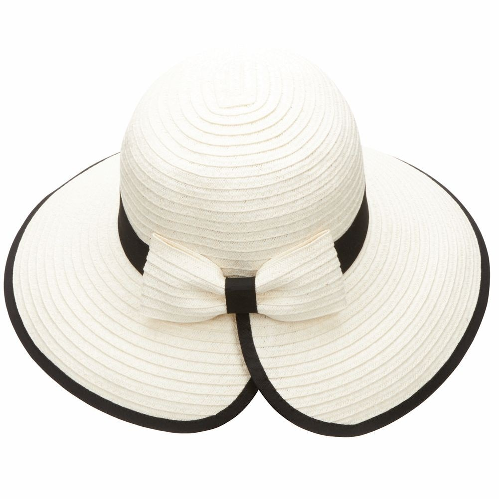 San Diego Hat Co Women's Brimmed Straw Sun Hat With Back Bow