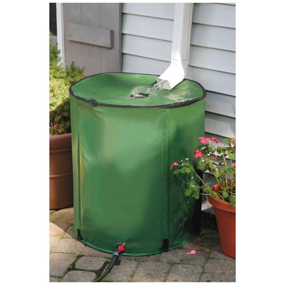 Portable 50 gallon rain barrel collapsible water collection storage green 84358044954 ebay for Portable watering tanks for gardens