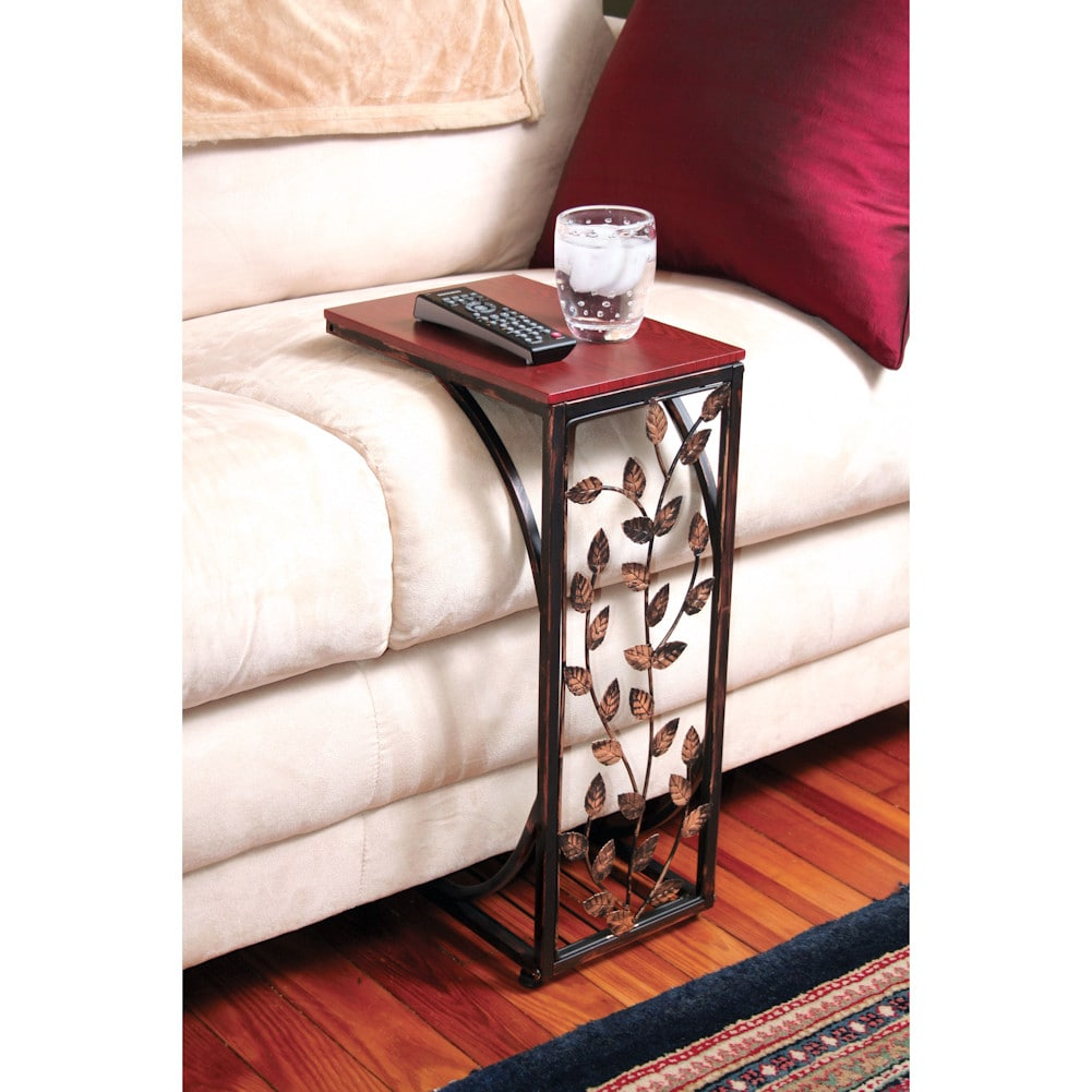 Leaf Side Sofa End Table Wood Top Metal Frame Couch Tv Tray