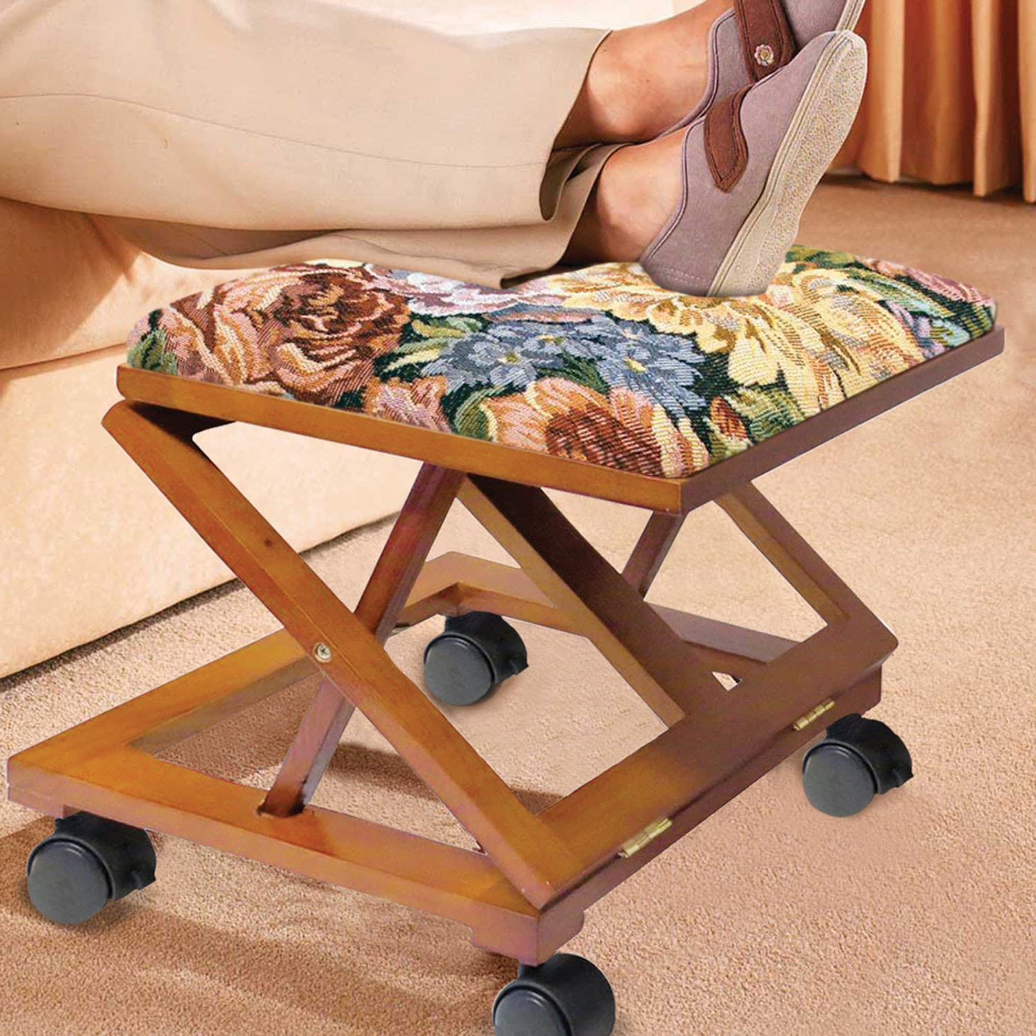 Adjustable Footstool Ottoman Tapestry Covered Fold Away