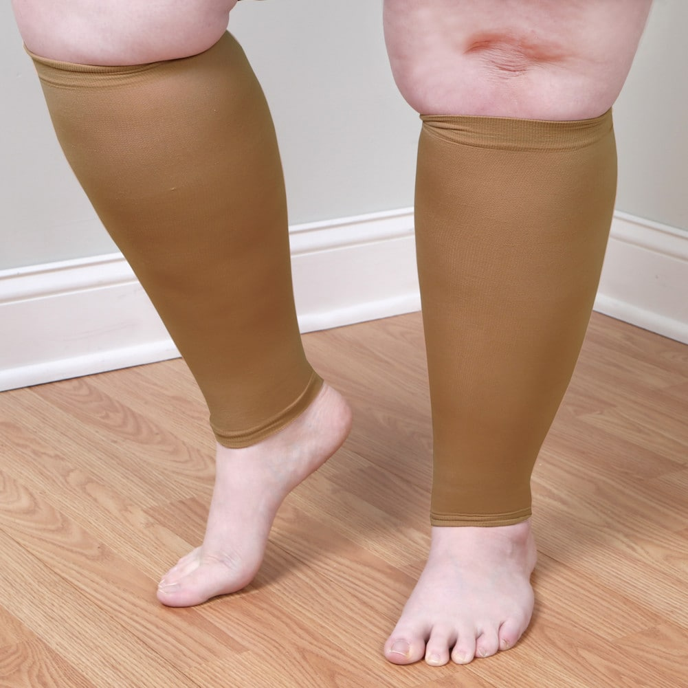 Adult-Extra-Wide-Moderate-Compression-Calf-Sleeves-Regular-Height-over-5-039-7-034 thumbnail 9
