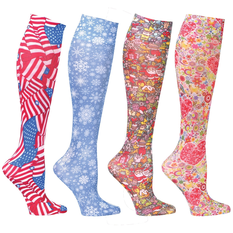 17e89f16dcb Compression Sock Set - 4 pack Seasonal Mild Queen Print Long Socks - 8-15  mm Hg.