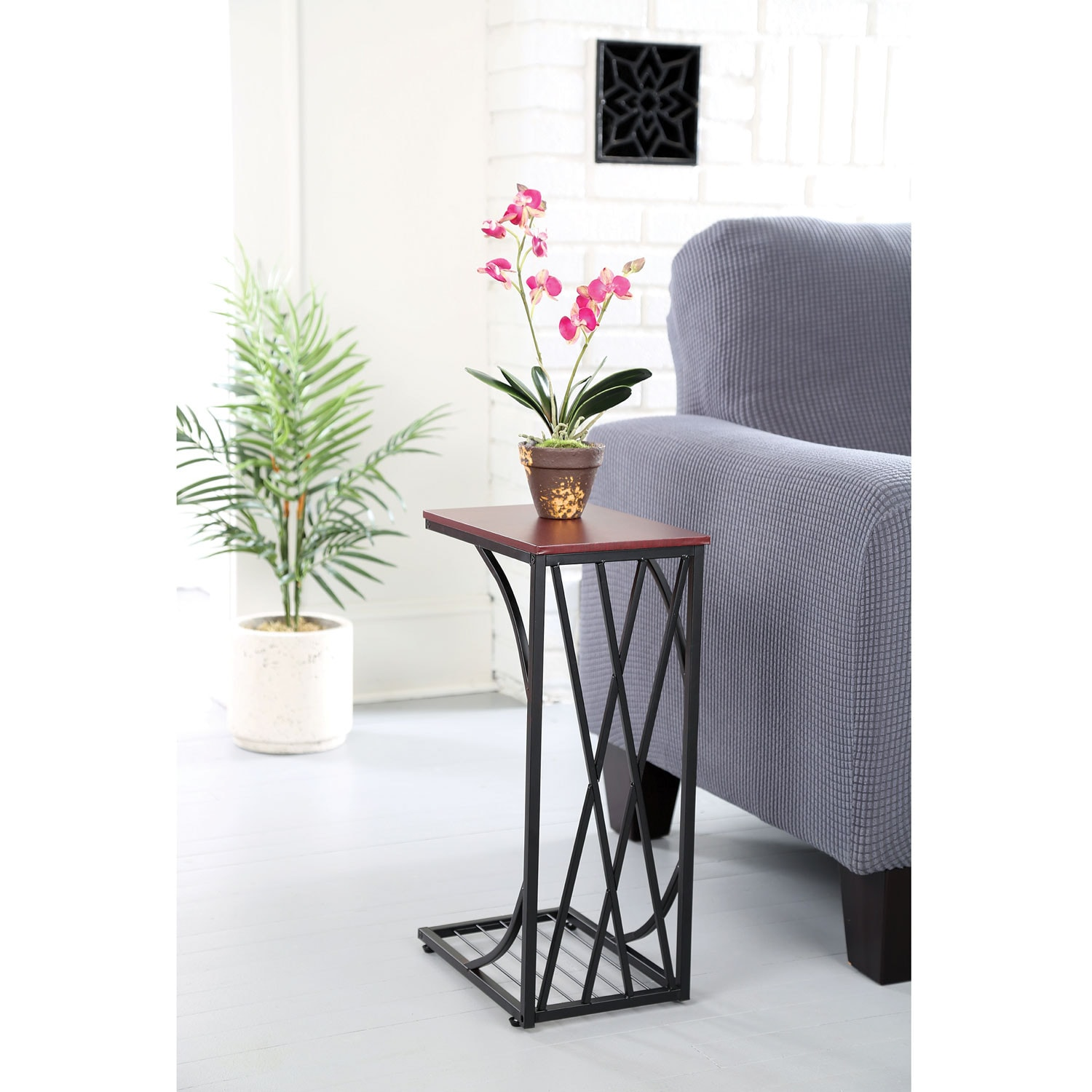 C Shaped Side Sofa End Table Snack Tv