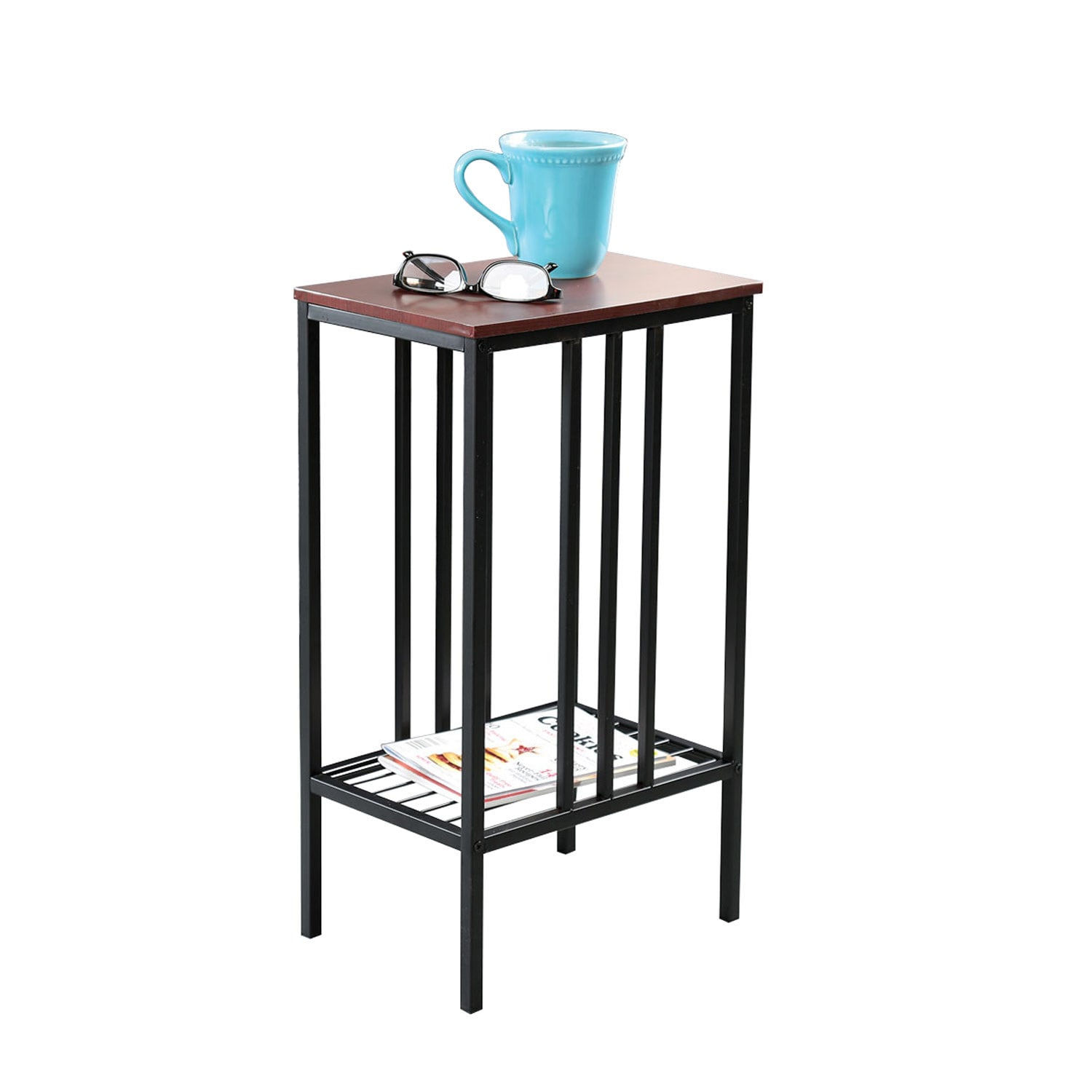 Chair Side Sofa Accent Table Black Iron Walnut Top