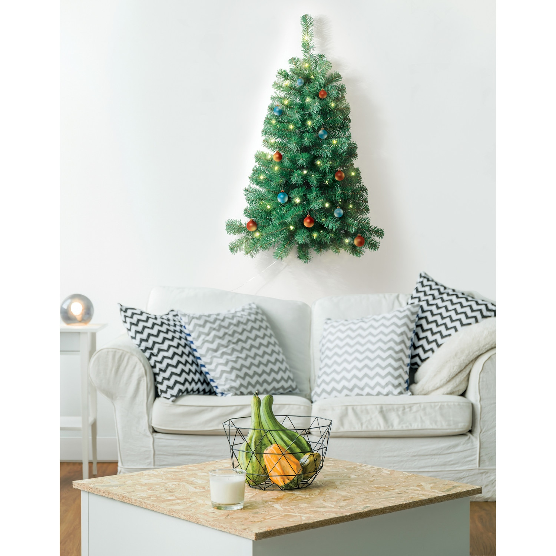 Wall Mounted Christmas Tree - Pre-lit Mini Holiday Half ...
